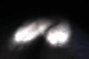 Suchscheinwerfer beleuchten die Fahrrinne im Eis in der Nacht